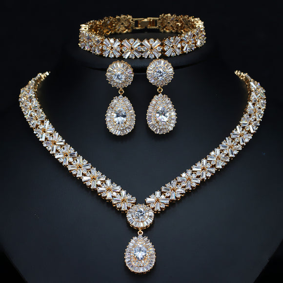 Zircons Exclusive Dubai Gold Plate Jewelry Sets