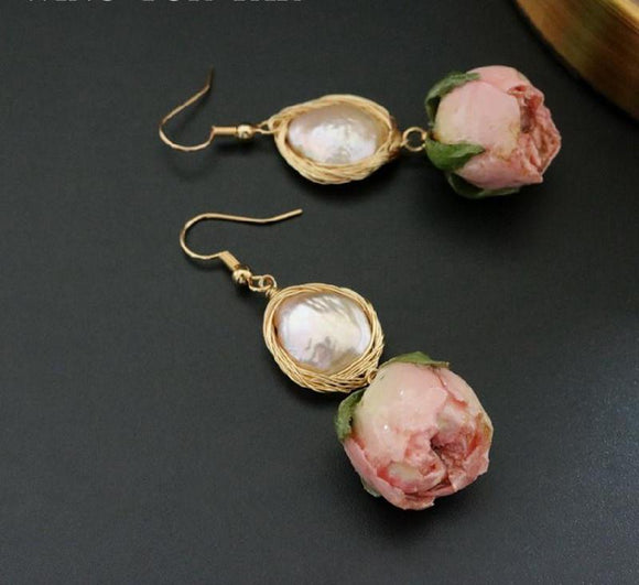 Handmade Freshwater Baroque Pearl Dried Flowers Dangle Earrings - Love Touch Jewelry