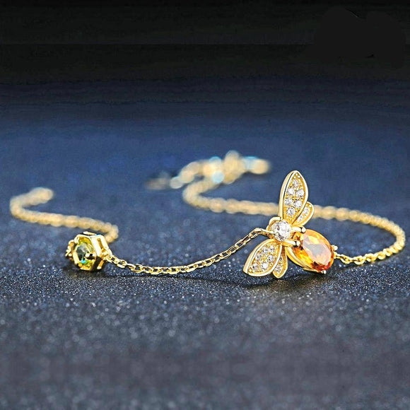 Honey Bee Peridot Natural Oval Citrine Sterling Silver Jewelry Rose Gold Chain Charm Bracelet - Love Touch Jewelry