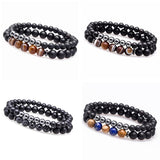 Hematite And Agate Stone Bracelets 2pcs - Love Touch Jewelry
