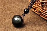 Natural Obsidian Rainbow Eyes Good Luck Bead Pendant Necklace