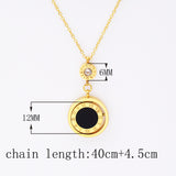 Double Circle Roman Numeral Black White Shell Necklace - Love Touch Jewelry