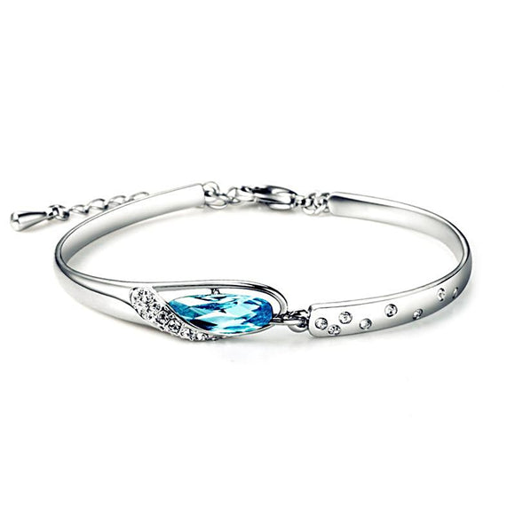 Blue Eye Drop AAA Austrian Crystal Silver Bracelet - Love Touch Jewelry