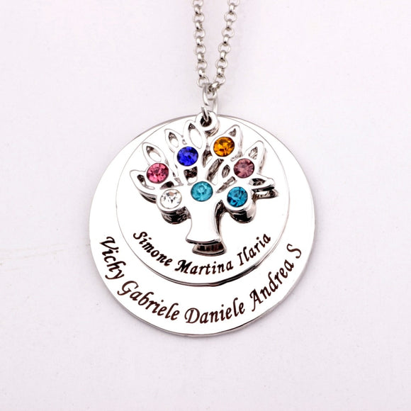 Personalized Family Tree Necklace Birthstones Pendant - Love Touch Jewelry