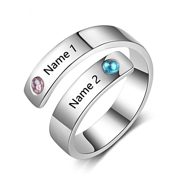 Customized Birthstone Engraved Names Adjustable Rings - Love Touch Jewelry