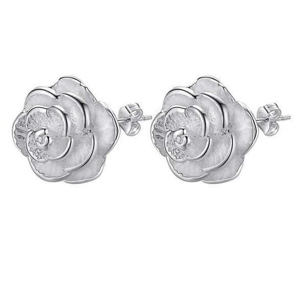 Cute Fashion Silver Plated Rose Flower Stud Earrings  - Love Touch Jewelry