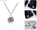 Elegant Rose Pendant Necklace (AAAA Genuine 925 Sterling Silver) - Love Touch Jewelry