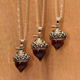 Gold Bronze, Silver Antique Drop Glass Oak Pendant Necklace - Love Touch Jewelry