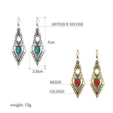 Tibetan Long Ethnic Dangle Earrings - Love Touch Jewelry