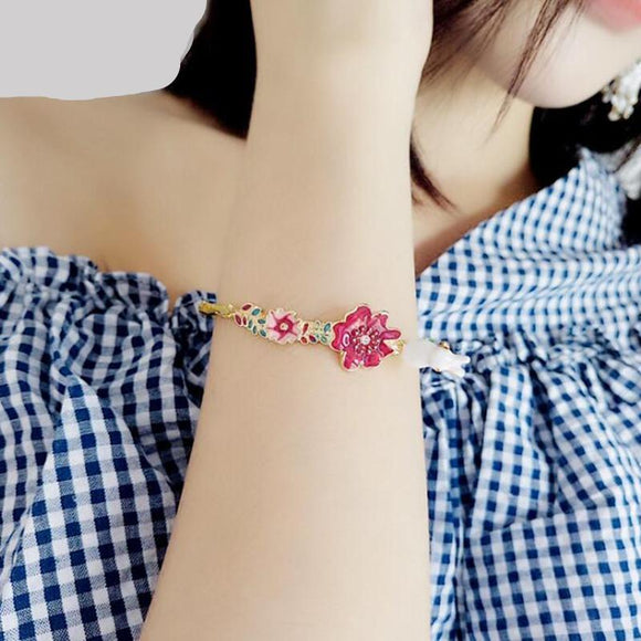 Cute Lovely Enamel Rabbit Flower Bracelets - Love Touch Jewelry