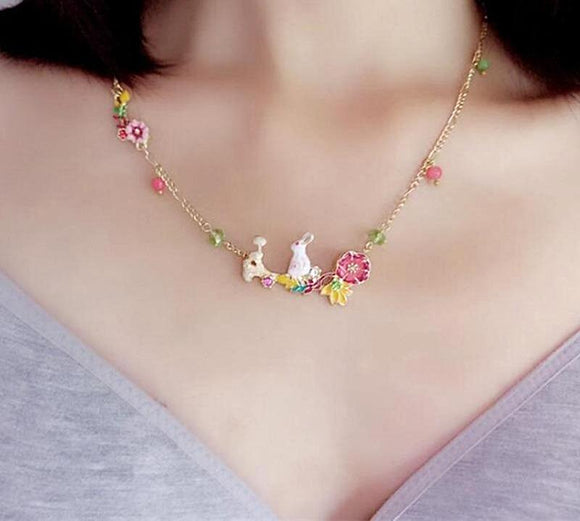 Cute Enamel Flower Rabbit Pendant Necklaces - Love Touch Jewelry