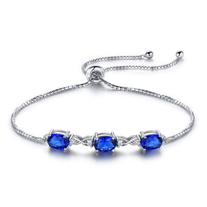 Blue Sapphire Silver Bracelet - Love Touch Jewelry