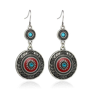Fashion Bohemian Style Rhinestone Flower Loop Earrings - Love Touch Jewelry