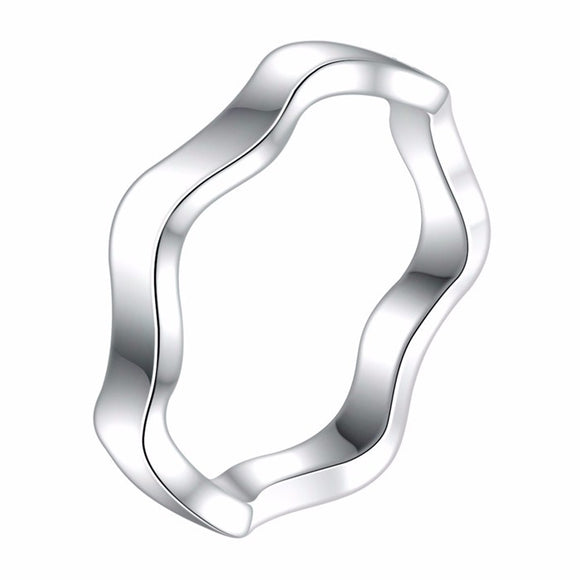 Classic Silver Plated Wave Pattern Ring - Love Touch Jewelry
