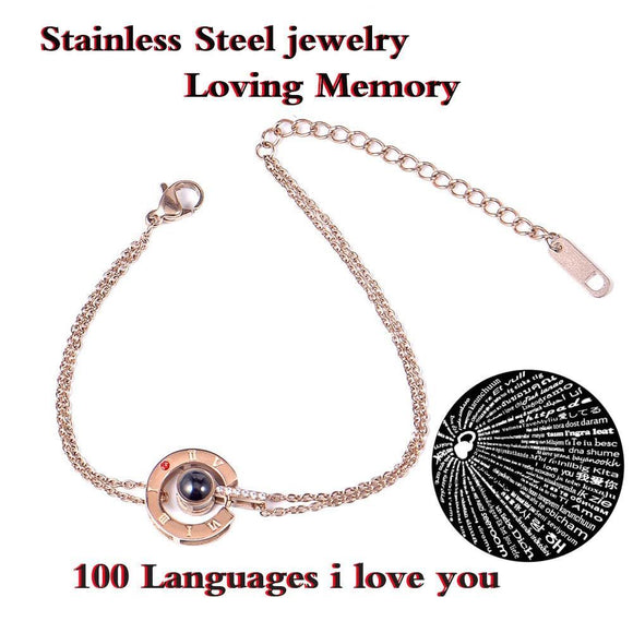 100 Language I Love You Projection Chain Stainless Steel Bracelet  - Love Touch Jewelry