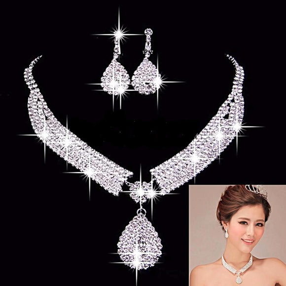 Luxury Wedding Bridal Jewelry Sets African Beads Rhinestone Wedding Necklace Earrings - Love Touch Jewelry
