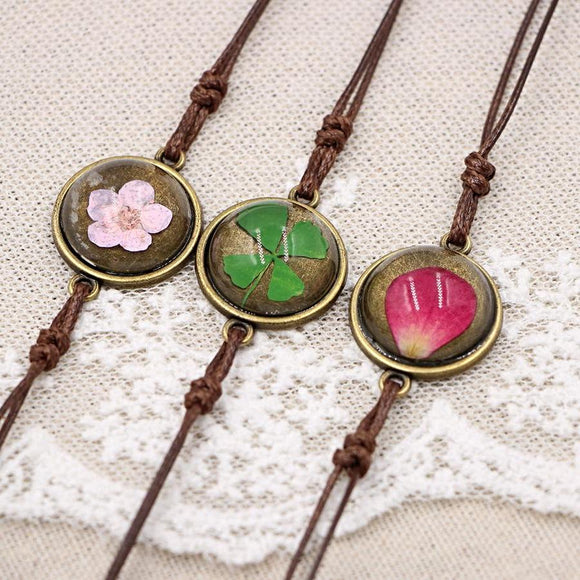 Multicolor Clover Blossom Dry Flower Glass Ball Gem Bracelet - Love Touch Jewelry