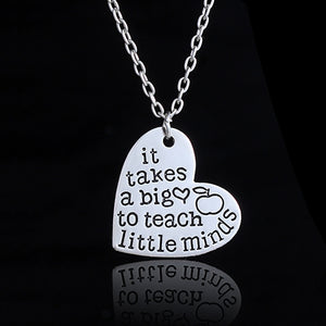 "Heart Engraved ""It Takes a Big Heart to Teach Little Minds"" Pendant Necklace - Love Touch Jewelry"