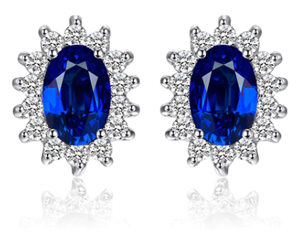 Princess Blue Sapphire Silver Earring - Love Touch Jewelry