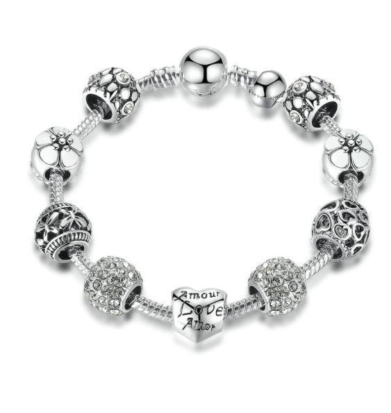 Love and Flower Crystal Ball Charm Bracelet - Love Touch Jewelry