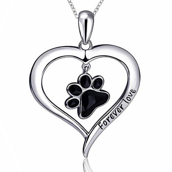 Dog Paw Heart Pendant Necklace (Genuine 925 Sterling Silver) - Love Touch Jewelry