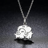 Adorable Mother Hug Elephant Pendant Necklace (Genuine 925 Sterling Silver) - Love Touch Jewelry
