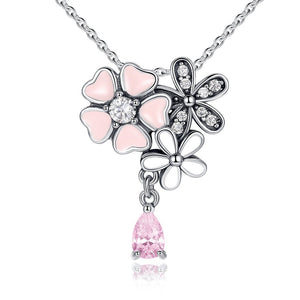 Pink Heart Blossom Cherry Flower Pendant Necklace (Genuine 925 Sterling Silver) - Love Touch Jewelry