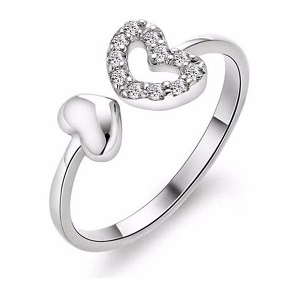 Silver Plated Crystal Heart Ring - Love Touch Jewelry