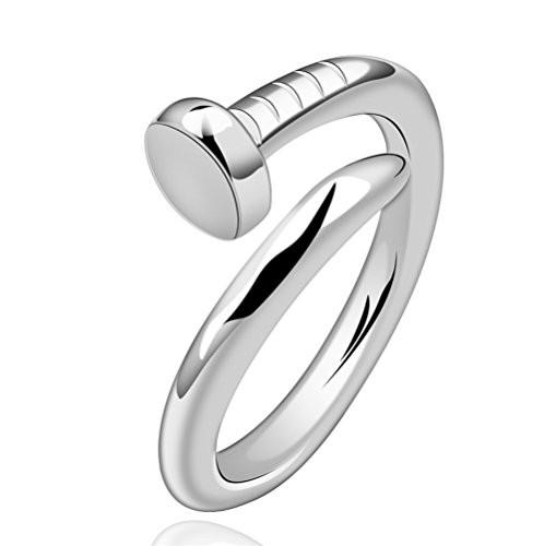 Unique Silver Plated Nail Pattern Adjustable Ring - Love Touch Jewelry