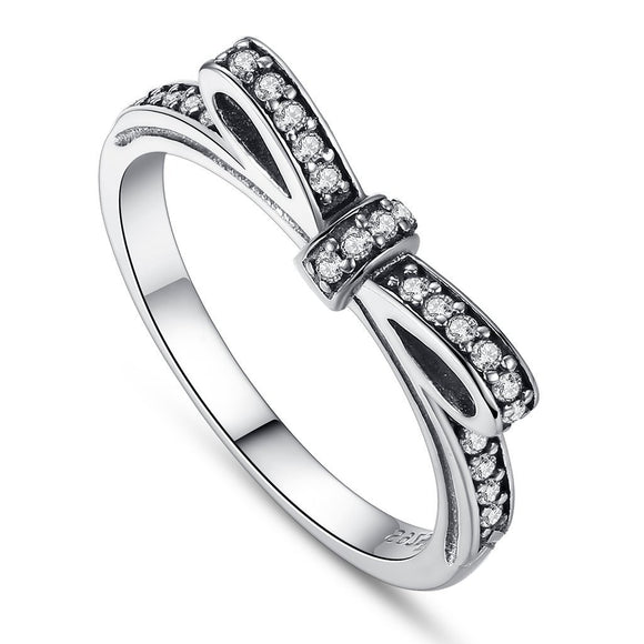 Sparkling Bow Knot Stackable Rings (Genuine 925 Sterling Silver) - Love Touch Jewelry