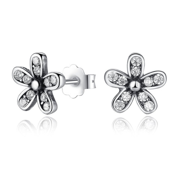 Dazzling Daisy Stud Earrings (Genuine 925 Sterling Silver) - Love Touch Jewelry