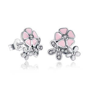 Pink Heart Blossom Cherry Flower Stud Earrings (Genuine 925 Sterling Silver) - Love Touch Jewelry