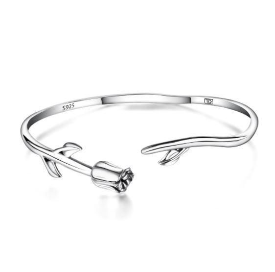 Elegant Rose Bangle (AAAA Genuine 925 Sterling Silver) - Love Touch Jewelry
