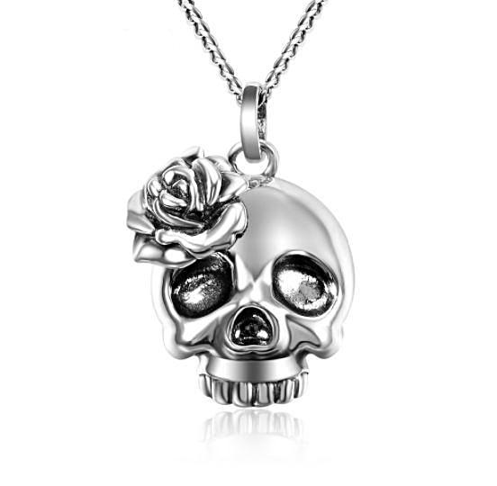 Rosemary Skull Pendant Necklace  (AAAA Genuine 925 Sterling Silver) - Love Touch Jewelry