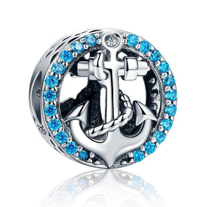 Cute Wheel Blue Crystals Bracelet Charm  (Genuine 925 Sterling Silver) - Love Touch Jewelry