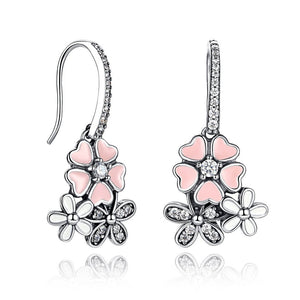 Pink Heart Blossom Cherry Flower Drop Earrings (Genuine 925 Sterling Silver) - Love Touch Jewelry