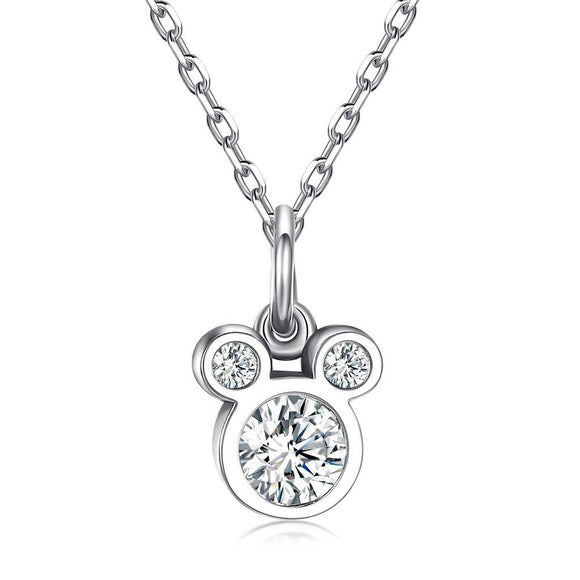 Cute Mickey Head Pendant Necklace (Genuine 925 Sterling Silver) - Love Touch Jewelry