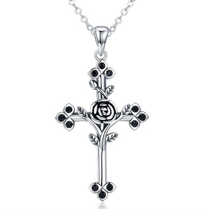 Rose Flower Leaf Cross Pendant Necklace (Genuine 925 Sterling Silver) - Love Touch Jewelry