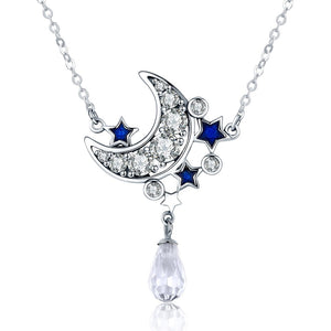 Crescent Moon & Star Crystal Pendant Necklace (Genuine 925 Sterling Silver) - Love Touch Jewelry