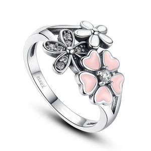 Pink Heart Blossom Cherry Flower Ring (Genuine 925 Sterling Silver) - Love Touch Jewelry