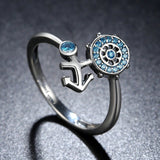 Cute Anchor & Wheel Blue Crystals Rings  (Genuine 925 Sterling Silver) - Love Touch Jewelry