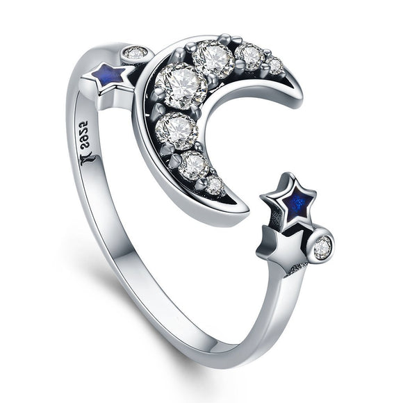 Crescent Moon & Star Crystal Ring (Genuine 925 Sterling Silver) - Love Touch Jewelry