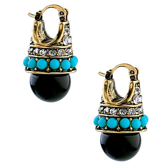 Pacifier Vintage Round Black Palace Crystal Stud Earrings - Love Touch Jewelry