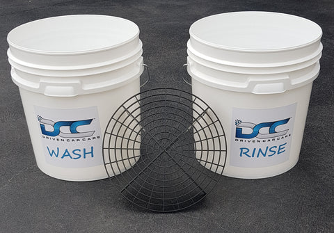 Driven Car Care  x 2 - 15 litre Car Wash Detailing Buckets & Grit Guard - Driven Car Care