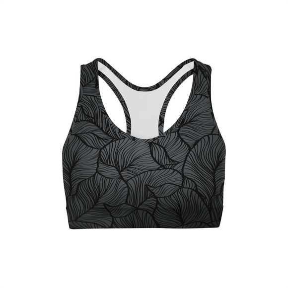 Black Tropical Leaf Sports Bra