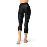 Black Tropical Leaf Nellie Soft Yoga Capris