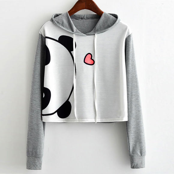 NEW Panda Long Sleeve Hooded Crop Pullover