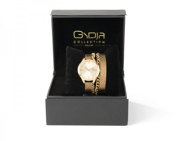 GYDJA WATCH OF THE YEAR - BRONZE LEATHER WITH 24 KK GOLD