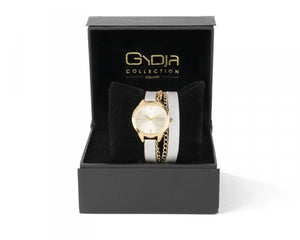 GYDJA WATCH OF THE YEAR - WHITE LEATHER WITH 24 KK GOLD