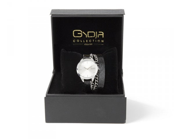 GYDJA WATCH OF THE YEAR - BLACK LEATHER WITH SILVER